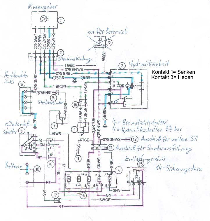 Schaltplan der Niveauregulierung im BMW E23