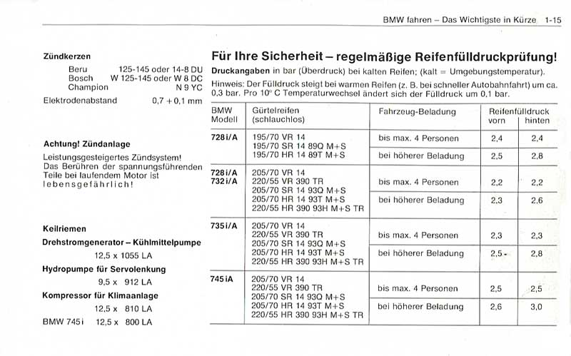 Technische Daten Bmw E23